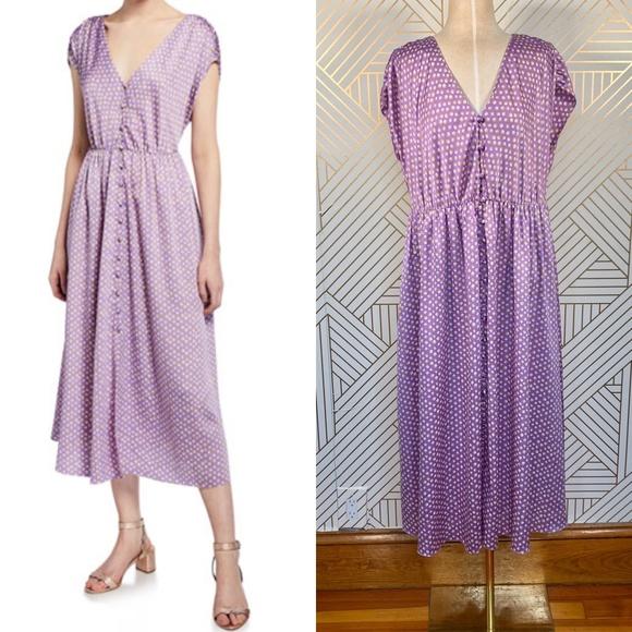 kate spade Dresses & Skirts - Kate Spade Geo Dot Satin Midi Dress Painted Pansy